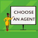 Den begreppsmässiga handhandstilvisningen väljer ett medel Att ställa ut för affärsfoto väljer någon som väljer beslut på vägnar  stock illustrationer