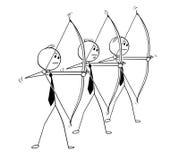 Den begreppsmässiga tecknade filmen av tre affärsmän med pilbågen i skytte poserar Arkivfoto