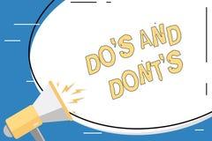Den begreppsm?ssiga handhandstilvisningen g?r S och g?r inte S Aff?rsfoto som st?ller ut regler eller egenar ang?ende n?gon aktiv vektor illustrationer