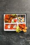 Den Bento Single delmåltiden för avhämtning eller hemmet packade mål i japansk cuision Arkivbilder