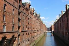 """Den berömda """"Speicherstadt""""en i Hamburg, Tyskland, Europa Royaltyfria Foton"""