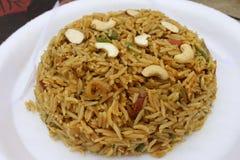 Den berömda baserade maträtten för kashmiri ris: kashmiripulao Arkivfoto