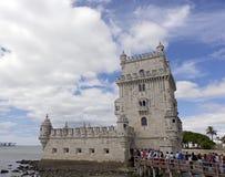 Den berömda Belemen på Taguset River i Lissabon, Portugal Arkivbilder