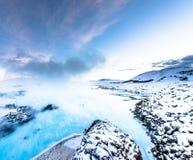 Den berömda blåa lagun nära Reykjavik, Island arkivfoton