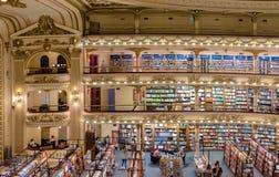 Den berömda bokhandeln El Ateneo storslagna storartade Buenos Aires Aregtina Arkivfoto