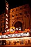 Den berömda Chicago teatern i Chicago, Illinois. Fotografering för Bildbyråer