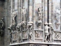 Den berömda domkyrkan av Milan Italian: Duomodi Milano, domkyrkan av Kristi födelsen av oskulden arkivbild