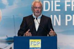 Den berömda FDP-politikern och den parlamentariska kandidaten Wolfgang Kubicki royaltyfria bilder