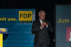 Den berömda FDP-politikern och den parlamentariska kandidaten Wolfgang Kubicki royaltyfri fotografi