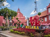 Den berömda gamla staden av Melaka med ÄLSKAR JAG det Melaka tecknet Royaltyfri Foto
