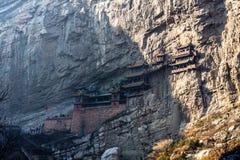 Den berömda hängande kloster nära Datong, Shanxi landskap, Kina Arkivbilder