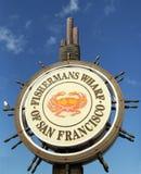 Den berömda hamnplatsen för fiskare s undertecknar in San Francisco arkivfoto