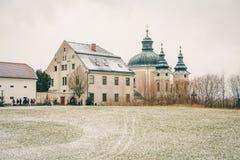 Den berömda julstolpen - kontor Christkindl Postamt och Cathloi arkivbild