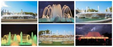 den berömda och spektakulära magiska springbrunnen i Barcelona Royaltyfri Fotografi
