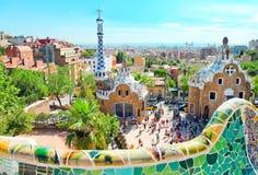 Den berömda parken Guell i Barcelon Fotografering för Bildbyråer