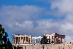 Den berömda parthenonen av akropolen, Aten, Grekland arkivbild