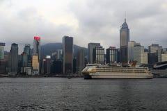 Den berömda porslinstjärnakryssningen som förtöjer i Hong Kong Arkivfoto