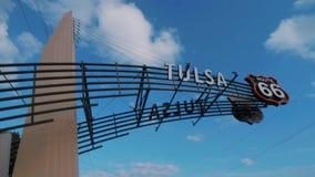 Den berömda Route 66 porten i Tulsa Oklahoma lager videofilmer