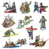 Den berömda ryska utforskaren stock illustrationer