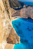 Den berömda stranden Navagio för värld i Zakynthos, Grekland Arkivfoto