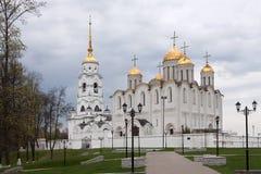 Den berömda Uspensky domkyrkan i Vladimir, Ryssland Guld- cirkel od Ryssland Royaltyfria Foton
