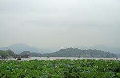 Den berömda västra sjön för värld i Hangzhou Arkivbild