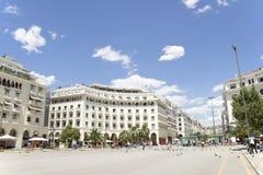 Den ber?mda Aristotelous fyrkanten i Thessaloniki, Grekland - kan 2013 arkivbilder