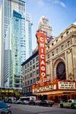 Den berömda Chicago teatern i Chicago, Illinois. Royaltyfri Fotografi
