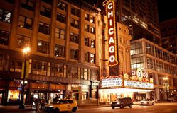 Den berömda Chicago teatern i Chicago, Illinois. Royaltyfri Foto