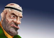 Den beslutsamma svettas skrapade och blöda rugbyspelaren royaltyfri fotografi