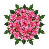Den beställde runda buketten av rosa färgrosen blommar och slår ut Royaltyfri Bild