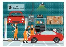 Den bilservice och reparationen centrerar eller parkera bilen i garage med arbetaren stock illustrationer