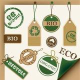 den bio ecoen återanvänder stämpeletiketter Royaltyfri Bild