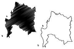 Den Biobio regionrepubliken av Chile, administrativa uppdelningar av illustrationen f?r den Chile ?versiktsvektorn, klottrar skis royaltyfri illustrationer