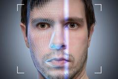 Den Biometric bildläsaren avläser framsidan av den unga mannen den konstgjorda hjärnan circuits mainboard för elektronisk intelli arkivfoto