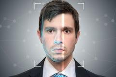 Den Biometric bildläsaren avläser framsidan av den unga mannen Upptäckts- och erkännandebegrepp vektor illustrationer