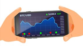 Den Bitcoin applikationrengöringsduken kartlägger vektorn holdingen för bakgrundsgrupphanden bemärker smartphone Bitcoin utbyte A Royaltyfri Bild