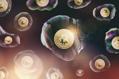 Den Bitcoin bubblan brast - digital cryptocurrencybegreppsbild royaltyfri bild