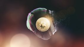 Den Bitcoin bubblan brast - Bitcoin-kraschen - den digitala cryptocurrencyen Co royaltyfri bild