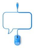 Den blå musen och kabel i formen av anförande bubblar stock illustrationer