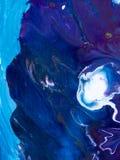 Den blåa abstrakta handen målade bakgrund, akrylmålning på canva Royaltyfria Foton