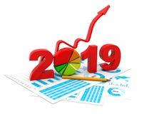 Den blåa affärsgrafen med pilen upp och symbolet 2019, föreställer tillväxt i det nya året 2019, den tredimensionella tolkningen, stock illustrationer