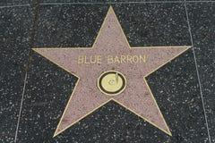 Den blåa Barron stjärnan på Hollywood går av berömmelse royaltyfria foton