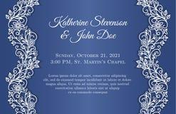 Den blåa bröllopinbjudan med vit snör åt garnering vektor illustrationer