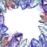 Den blåa diamanten vaggar smyckenmineral Fyrkant för ramgränsprydnad stock illustrationer