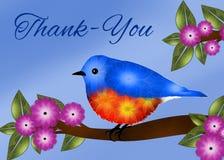 Den blåa fågeln tackar dig att card Royaltyfri Bild