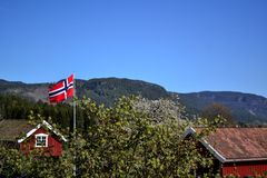 den blåa flaggan gjorde norsk röd vektorwhite Arkivbilder