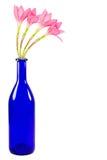 Den blåa flaskan med rosa färger blommar isolerat på vit bakgrund Arkivbilder