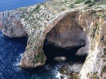 Den blåa grottan i ön av Malta Fotografering för Bildbyråer