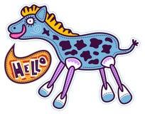 Den blåa hästen säger Hello Arkivbild